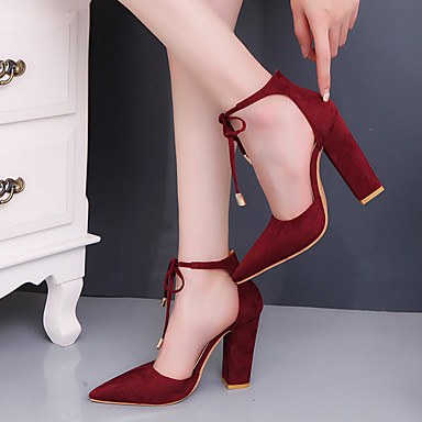 Women's Shoes Suede Spring / Fall Club Shoes / Comfort Heels Chunky Heel Closed Toe / Pointed Toe Lace-up for Party & Evening / Dress