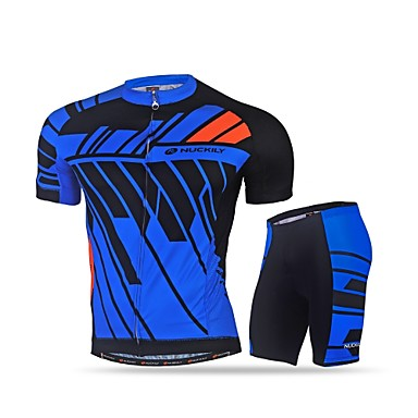 Nuckily Men's Cycling Jersey with Shorts - Black Blue Bike Clothing Suits, Quick Dry, Ultraviolet Resistant, Reflective Strips