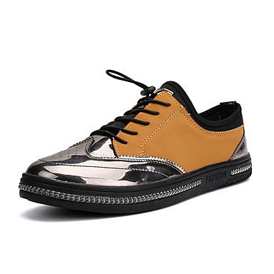 Homens sapatos Couro Ecológico Primavera Outono Solados com Luzes Tênis Caminhada Combinação para Casual Preto Marron
