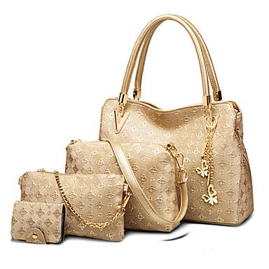 Mulheres Bolsas PU Conjuntos de saco Conjunto de bolsa de 4 pcs Pêlo Dourado / Branco / Preto / Conjuntos de sacolas