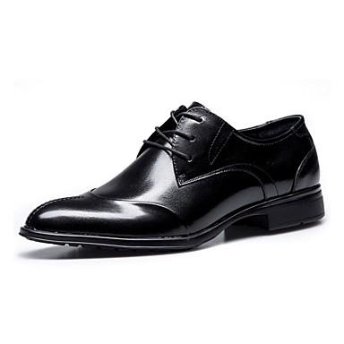 Homens sapatos Pele Napa Primavera Outono Conforto Oxfords Caminhada Cadarço para Casamento Casual Festas & Noite Preto