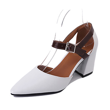 Dámské Boty PU Léto Pohodlné Sandály Chůze Block Heel Palec do špičky Přezky pro Venkovní Bílá Béžová