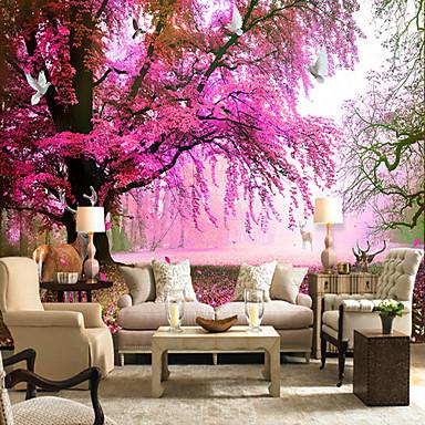 Mural Tela de pintura Revestimento de paredes - adesivo necessário Floral Árvores / Folhas