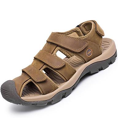Homens sapatos Pele Primavera / Verão Conforto Sandálias Tênis Anfíbio Castanho Claro