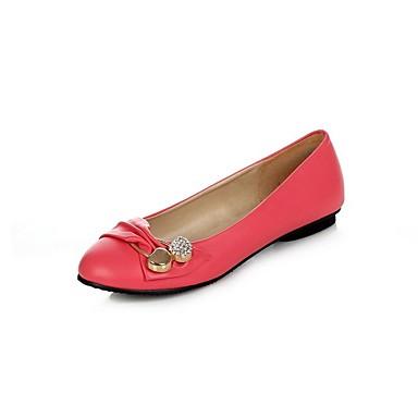 Mulheres Sapatos Courino Primavera Verão Conforto Rasos Caminhada Sem Salto Ponta Redonda Presilha para Social Branco Preto Vermelho