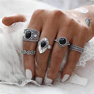 billige Motering-Dame Ring / Ringer Set / Pinky Ring 5pcs Gull / Sølv Syntetiske Edelstener / Sinklegering Rund / Sirkelformet / Geometrisk Form damer / Asiatisk / Geometrisk Julegaver / Bryllup / Fest Kostyme smykker