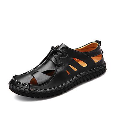 Homens Solas Claras Couro / Pele Primavera / Verão Buraco Shoes Sandálias Preto / Marron