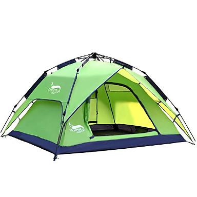 halpa Teltat ja suojat-DesertFox® 3 henkilöä Automaattinen teltta Ulko- Vedenkestävä Tuulenkestävä UV-vastustuskykyinen Kaksinkertainen teltta 2000-3000 mm varten Retkeily ja vaellus Polyesteri 180*210*118 cm