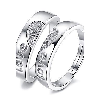 الزوجين خواتم الزوجين - بلاتين مطلي قلب, الحب قابل للتعديل فضي من أجل زفاف / حزب / مناسبة خاصة