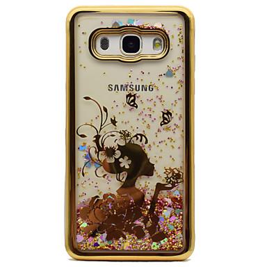 Capinha Para Samsung Galaxy J5 (2016) J3 (2016) Galvanizado Liquido Flutuante Estampada Capa traseira Mulher Sensual Glitter Brilhante