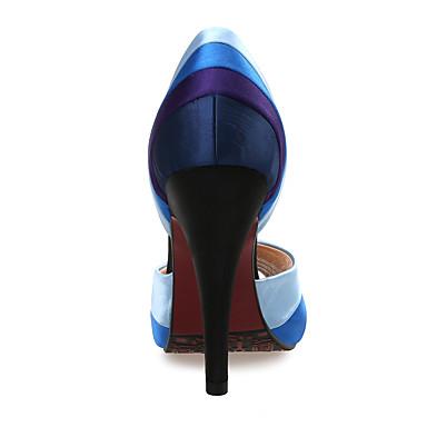 Sandales 05867098 Chaussures ouvert Mariage Femme Automne Talon club Eté Habillé de Bout Tissu Synthétique Soie Bleu Chaussures Aiguille zwqwfAT