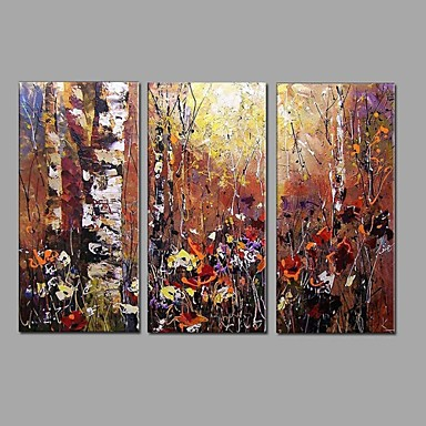 Pintura a Óleo Pintados à mão - Abstrato Modern / Estilo Europeu Tela de pintura / Lona esticada