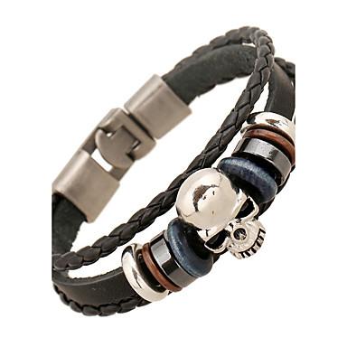 voordelige Herensieraden-Heren Dames Lederen armbanden Dames Vintage Vriendschap Leder Armband sieraden Zwart Voor Vuosipäivä Lahja mielitietty