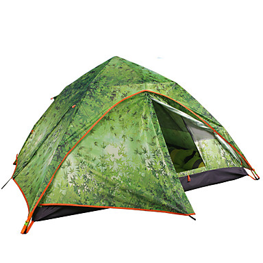 3 pessoa  Ao ar livre Tenda Prova-de-Água Á Prova-de-Chuva Á Prova de Humidade Respirabilidade Um Quarto Dupla Camada 2000-3000 mm Barraca de acampamento  para Equitação Campismo Viajar Oxford