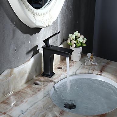 Tradicional Conjunto Central Separada Válvula Cerâmica Monocomando e Uma Abertura Bronze Polido a Óleo, Torneira pia do banheiro