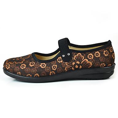 Mulheres Sapatos Tecido Primavera / Outono Conforto Rasos Caminhada Sem Salto Ponta Redonda Elástico Flor para Casual Café Vermelho