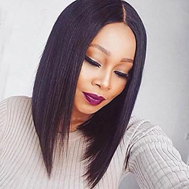 Damen Echthaar Perücken mit Spitze Lace Front Perücken Leimfreie Spitze vorne 130% Dichte Glatt Perücken Rabenschwarz Schwarz Dunkelbraun