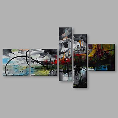 Pintados à mão Paisagem Panorâmico vertical, Artistíco Abstracto Moderno/Contemporâneo Tela de pintura Pintura a Óleo Decoração para casa