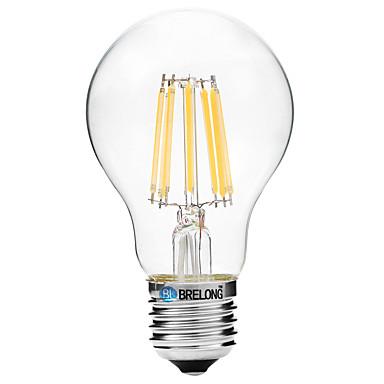 BRELONG® 1pç 8 W 600 lm E27 Lâmpadas de Filamento de LED A60(A19) 8 Contas LED COB Branco Quente / Branco 200-240 V / 1 pç