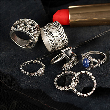Women's Hollow Out Ring Rings Set - Rhinestone Flower Geometric, Unique Design, Vintage One Size Silver For Christmas Gifts Wedding Party / 7pcs