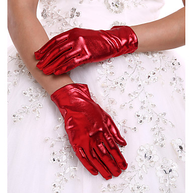 Faux Leather Wrist Length Glove Bridal Gloves With Ruffles