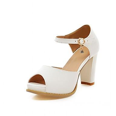 Mulheres Sapatos Couro Ecológico Courino Verão Outono Inovador Conforto Sandálias Caminhada Salto Robusto Peep Toe Presilha para Festas &