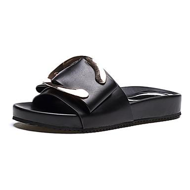 Damen Schuhe PU Sommer Komfort Sandalen Flacher Absatz Schwarz / Beige
