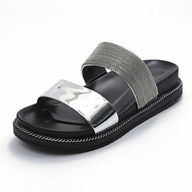 Damen Schuhe Kunstleder Sommer Fersenriemen Flache Schuhe Walking Flacher Absatz Runde Zehe für Normal Kleid Weiß Schwarz Silber Grün