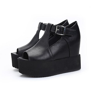 Naiset Sandaalit PU Kevät Musta Tasapohja