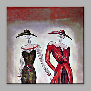Maalattu Abstrakti Neliö, Abstrakti Kangas Hang-Painted öljymaalaus Kodinsisustus 1 paneeli