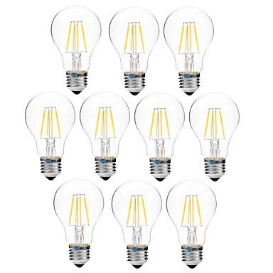abordables Ampoules électriques-BRELONG® 10pcs 4 W Ampoules à Filament LED 300 lm E27 A60(A19) 4 Perles LED COB Intensité Réglable Blanc Chaud Blanc 200-240 V / 10 pièces
