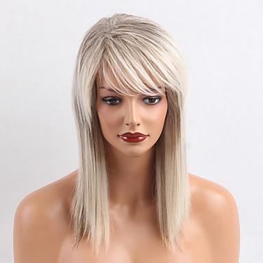 Menschliches Haar Capless Perücken Echthaar Glatt Klassisch Gute Qualität Maschinell gefertigt Perücke Alltag