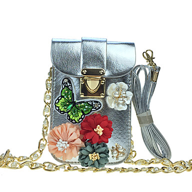 Mulheres Bolsas Couro Ecológico Courino Telefone Móvel Bag Pedrarias Miçangas Pétala Flor de Cetim Apliques Gliter com Brilho Bordado