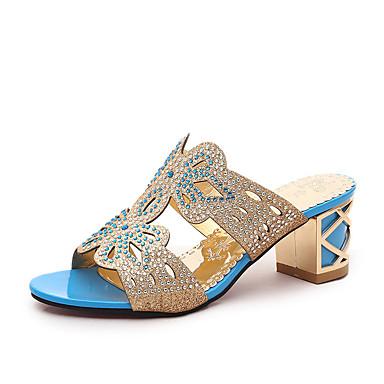 Damen Sandalen Sommer PU Walking Glitter Blockabsatz Schwarz Blau Königsblau Unter 2,5 cm