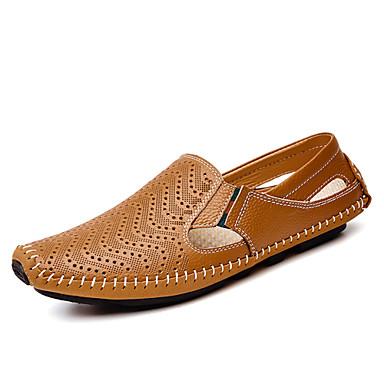 Homens sapatos Couro Primavera Outono Mocassins e Slip-Ons Caminhada para Outro Ao ar livre Branco Preto Azul Escuro Amarelo Marron