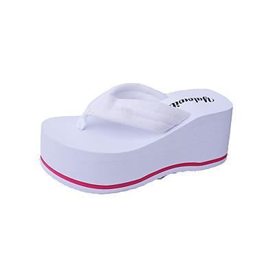 للمرأة أحذية PU ربيع / صيف مريح صنادل كعب متوسط حذاء براس مدبب أبيض / أسود / زهري