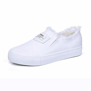 Naiset Kengät Canvas PU Syksy Comfort Tasapohjakengät Käyttötarkoitus Kausaliteetti Valkoinen Musta
