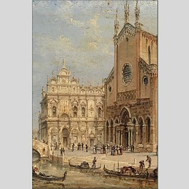 Pintados à mão Paisagem Panorâmico vertical, Abstracto Tela de pintura Pintura a Óleo Decoração para casa 1 Painel