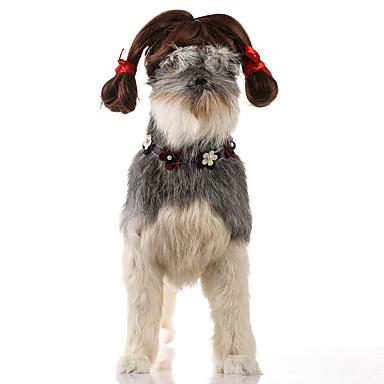 Gato Cachorro Natal Perucas Roupas para Cães Festa Fantasias Casual Dia Das Bruxas Ano Novo Sólido Marron Ocasiões Especiais Para animais