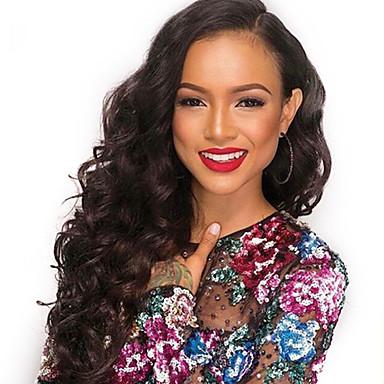 Remi-Haar Spitzenfront Perücke Große Wellen 130% Dichte 100 % von Hand geknüpft Afro-amerikanische Perücke Natürlicher Haaransatz Kurz