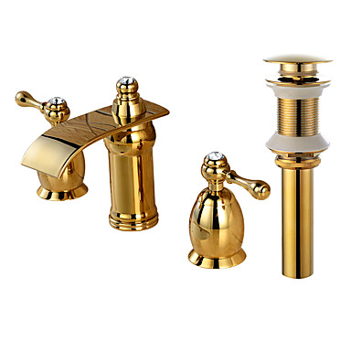 Faucet Set - Waterfall Gold Widespread Two Handles Three Holes