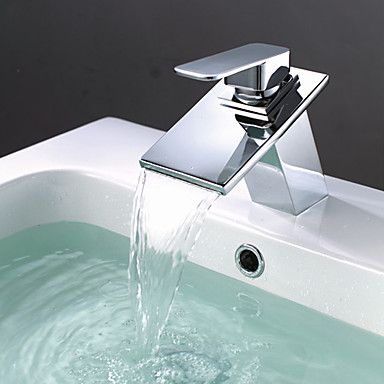 Moderne Modern Mittellage Wasserfall Keramisches Ventil Ein Loch Einhand Ein Loch Chrom, Waschbecken Wasserhahn