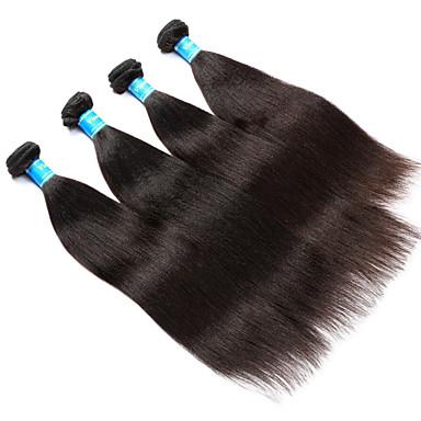 Echthaar Brasilianisches Haar Menschenhaar spinnt Yaki-Stil Haarverlängerungen 4 Stück Schwarz