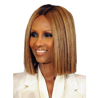 Human Hair Capless Wigs Human Hair Straight Bob Haircut Dark Roots / Middle Part Medium Length Machine Made Wig Women's