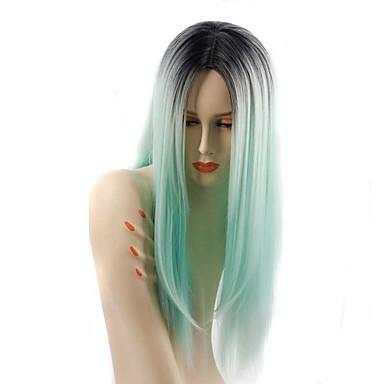 Perucas sintéticas Liso Densidade Sem Touca Mulheres Preta Peruca Natural Longo Cabelo Sintético
