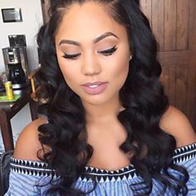 Remy vlasy Se síťovanou přední částí Paruka Volné vlny 150% Hustota 100% ručně vázaná Afroamerická paruka Přírodní vlasová linie Krátký