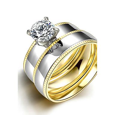 Mulheres Aço Titânio Anel de noivado Anel Anel de banda - Redonda Casamento Fashion Estilo simples Prata Anel Para Presentes de Natal