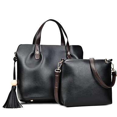 Damen Taschen PU Bag Set 2 Stück Geldbörse Set für Ganzjährig Weiß Schwarz Rote Grau