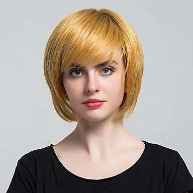 Menschliches Haar Capless Perücken Gelb Gute Qualität Klassisch Gerade Alltag