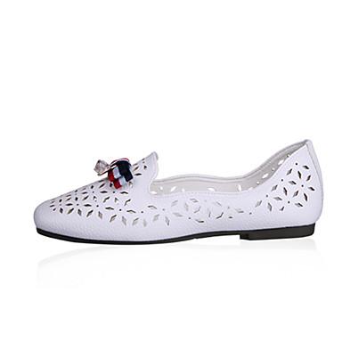 Naisten Kengät Polyesteri Kesä Syksy Comfort Tasapohjakengät Tasapohja Ruseteilla varten Kausaliteetti ulko- Valkoinen Beesi